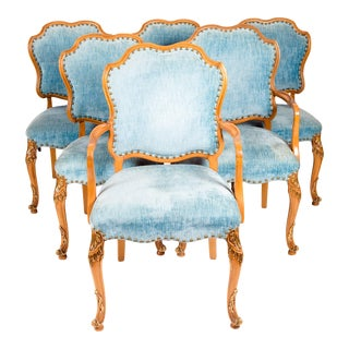 Burlwood Framed With Gilt Details Dining Chairs - Set of 6 For Sale