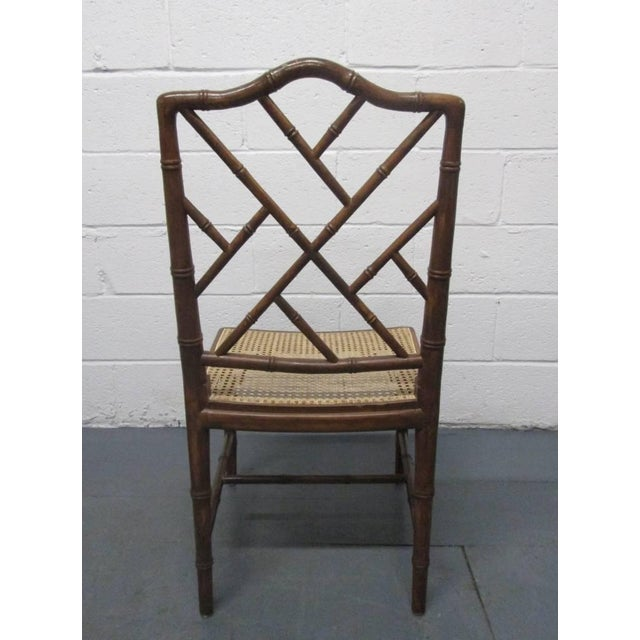 4 Faux Bamboo Chinese Chippendale Style Chairs For Sale - Image 4 of 8