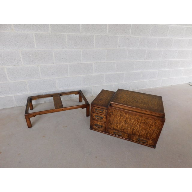 Features Fine Quality Solid Construction - Unique Asian Style with Copper Insert in Figured Exotic Wood, 5 Drawers, Approx...