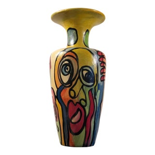 1980's Peter Keil Sculptural Painted Vase For Sale
