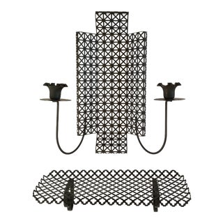 Mid Century Modern Wire Mesh Candle Holder & Shelf Set For Sale