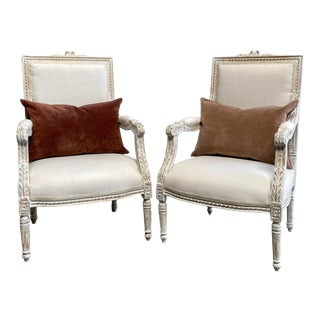 Vintage Pair of Painted and Upholstered Louis XVI Style Chairs For Sale