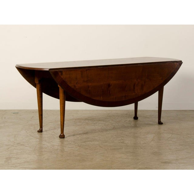 Hand Spoked Oval Cherry Wood Drop Leaf Table - Image 2 of 3