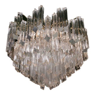 Camer Pyramid Shaped Glass Rod Chandelier For Sale