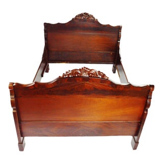 Antique Carved Wood With Flame Wood Veneer Full Size Bed For Sale