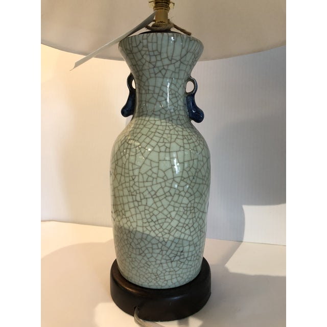 1920s Chinese Export Blue and White Porcelain Vase Table Lamp For Sale - Image 5 of 6
