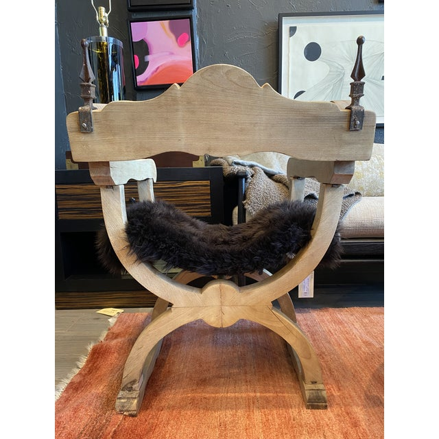 Carved Oak Throne Chair With Shearling Seat For Sale - Image 4 of 10