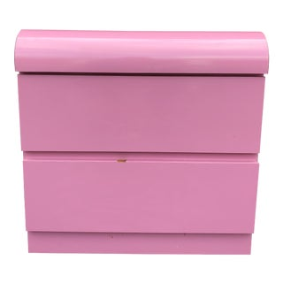 1980s Minimalist Pink Lacquer Two Drawer Night Stand For Sale