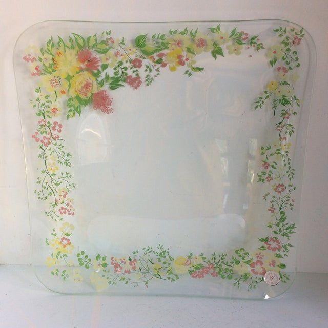Glass Dorothy Thorpe California Wild Flower Square Serving Platter For Sale - Image 13 of 13