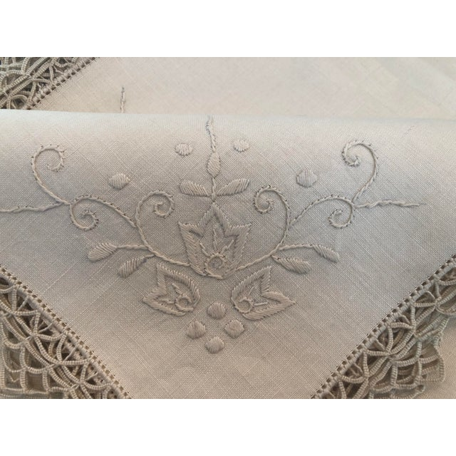Vintage Italian Linen Napkins Hand-Embroidered Reticella - Set of 12 For Sale In San Francisco - Image 6 of 13