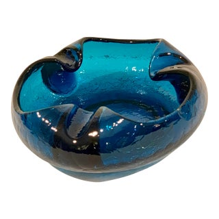 1950s Mid-Century Modern Viking Blue Glass Ashtray For Sale