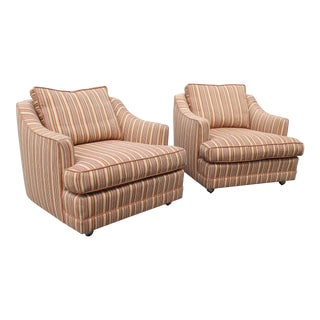1970s Style Striped Club Chairs- A Pair For Sale
