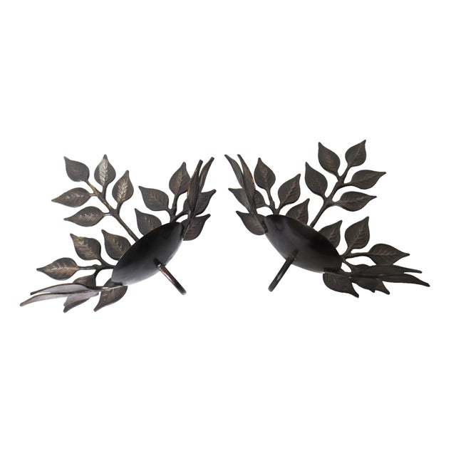 Leaf Candle Sconces - A Pair - Image 2 of 6