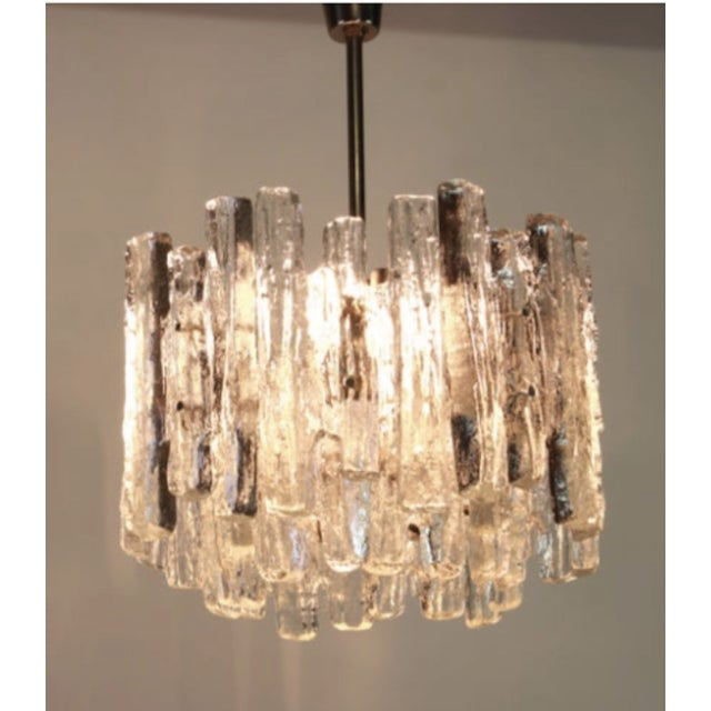 1960s 1960s Large Murano Ice Glass Chandelier by Kalmar, Austria, 1960s For Sale - Image 5 of 9