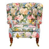 Image of Baker Furniture Floral Tufted Wingback Chair on Brass Casters For Sale