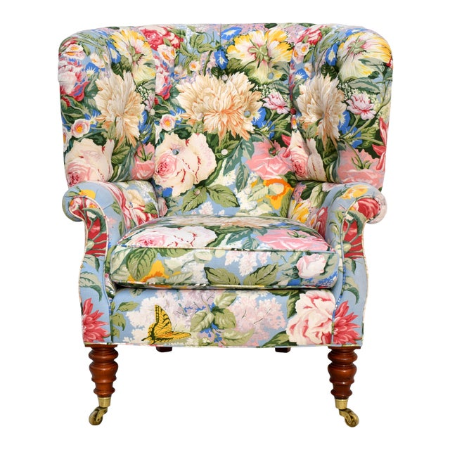 Baker Furniture Floral Tufted Wingback Chair on Brass Casters For Sale