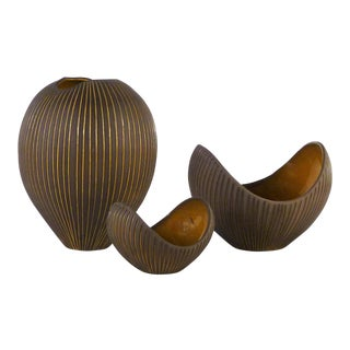 Hjordis Oldfors, Set of 3 Modern Earthenware Kokos / Coconuts Vessels From Upsala-Ekeby, Sweden 1954 For Sale