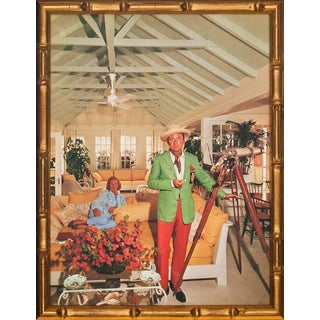 Slim Aarons Colour Plate of Clifford, Baron Von Klenk in Gilt Bamboo Frame For Sale
