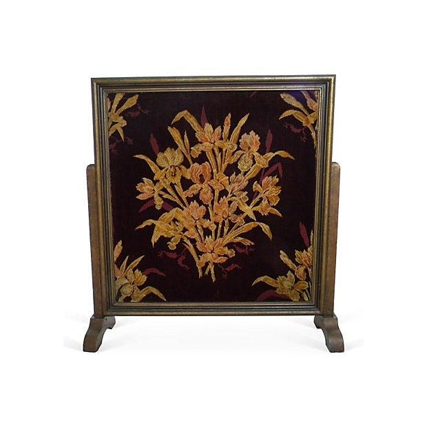 Antique Floral Fireplace Screen - Image 1 of 4