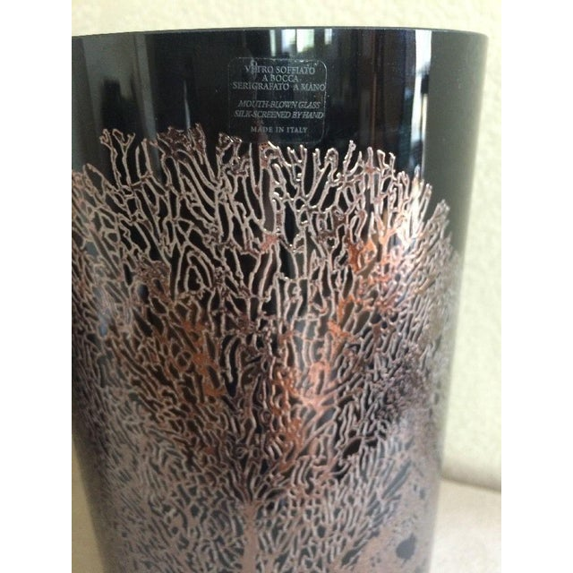 Abstract Egizia Italy Black Glass & Rose Gold Coral Vase For Sale - Image 3 of 5