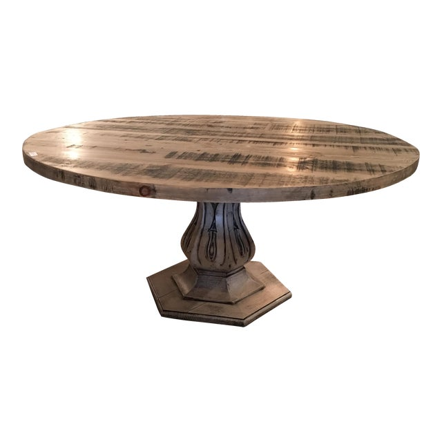 Reclaimed Pine Top Round Dining Table - Image 1 of 6