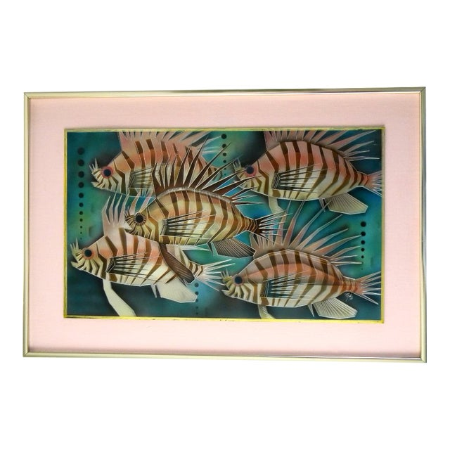 1975 Lion Fish Aluminum Etched and Airbrushed Painting by Tom Gall For Sale