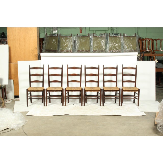 Six French Farmhouse-Style Oak Ladder Back Dining Chairs With Rush Seats For Sale - Image 12 of 12