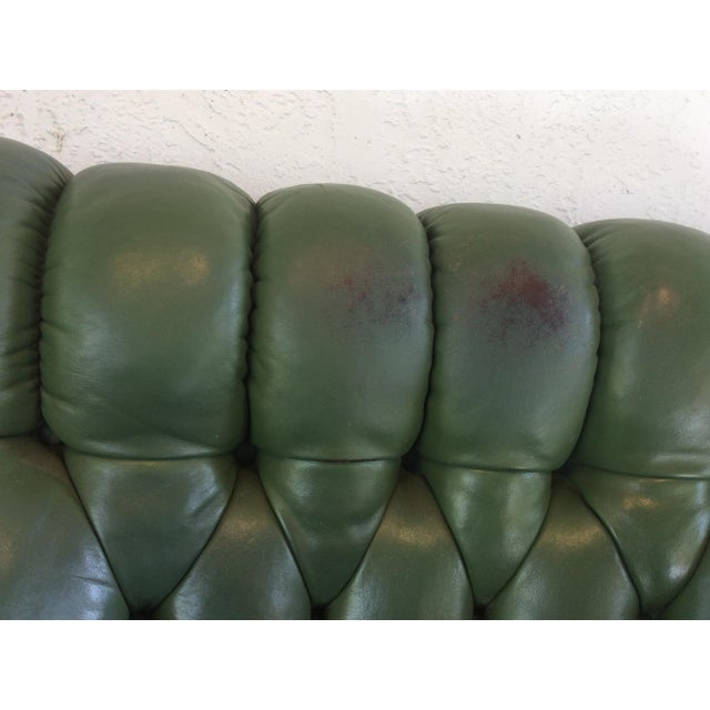 Mid Century Green Leather Spoon Chair and Ottoman For Sale - Image 10 of 12