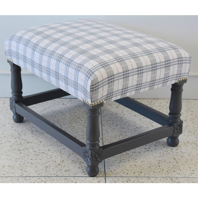 Fabric Vintage Ottoman Upholstered With Designer Linen Accented W/ Nailhead Tacking For Sale - Image 7 of 13