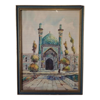 Vintage Indian Watercolor Painting For Sale