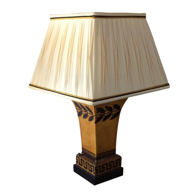 Antique French Tole Lamp with Shade - Image 1 of 3
