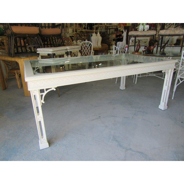 Palm Beach Fretwork Dining Table For Sale - Image 9 of 12