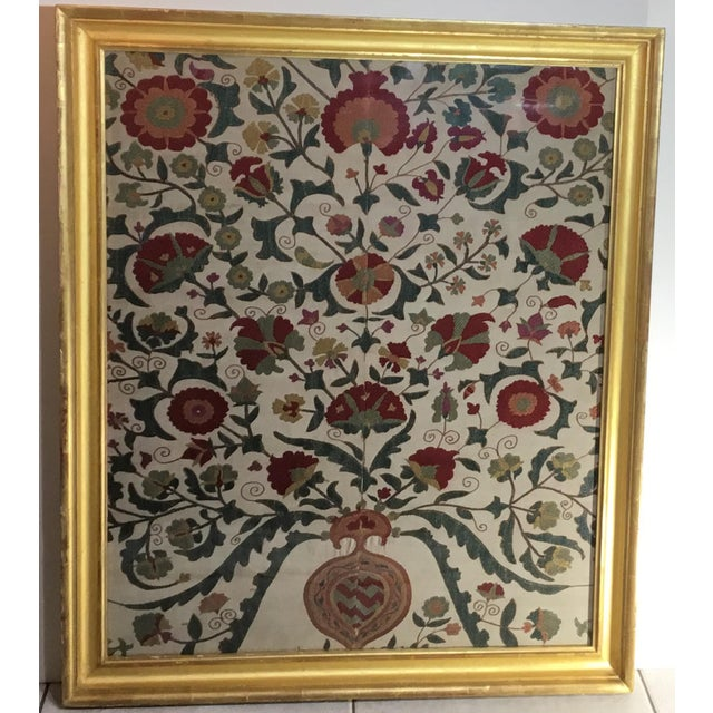 Hand Embroidery Silk Suzani Textile, Framed For Sale - Image 12 of 13