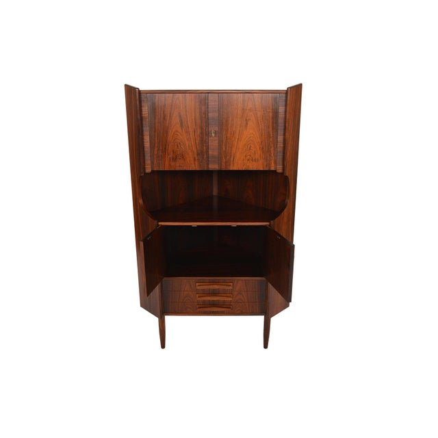 Danish Modern Rosewood Corner Bar - Image 2 of 9