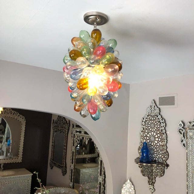 Contemporary Stained Hand-Blown Glass Colorful Light Fixture For Sale - Image 3 of 12