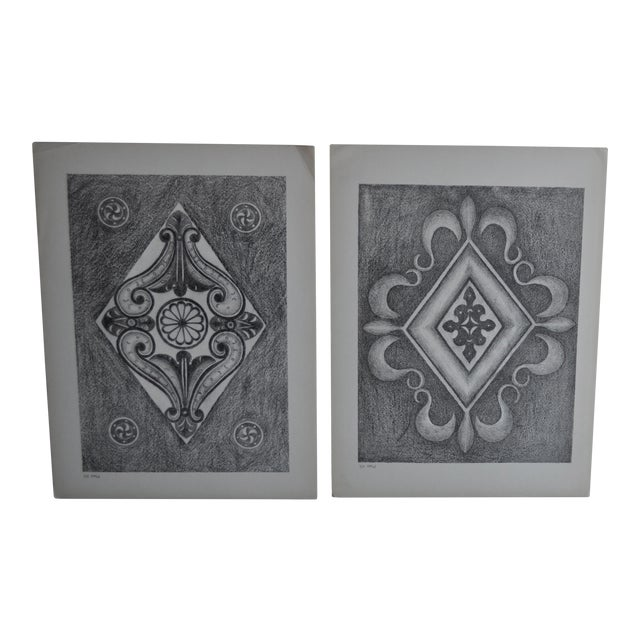 1906 English Photo-Tints, Charcoal Rubbings of Woodcarving - a Pair - Image 1 of 11