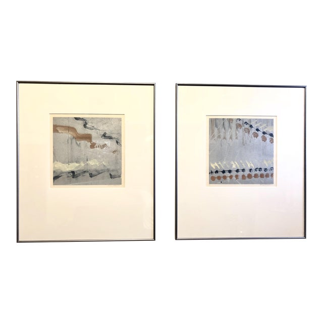Syd Kramer Monotype Abstract Prints - a Pair For Sale