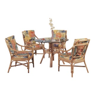 """Set of Four Rattan Ring Back """"Concord"""" Chair and Glass Top Table, Dining Set For Sale"""