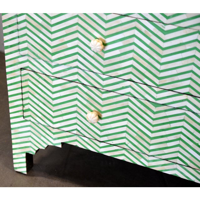 4-Drawer Bone Inlay Chevron Pattern Chest of Drawers For Sale - Image 4 of 8
