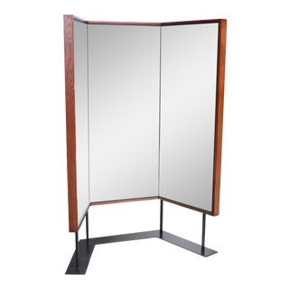 Mid-Century Free-Standing Three-Panel Mirror For Sale