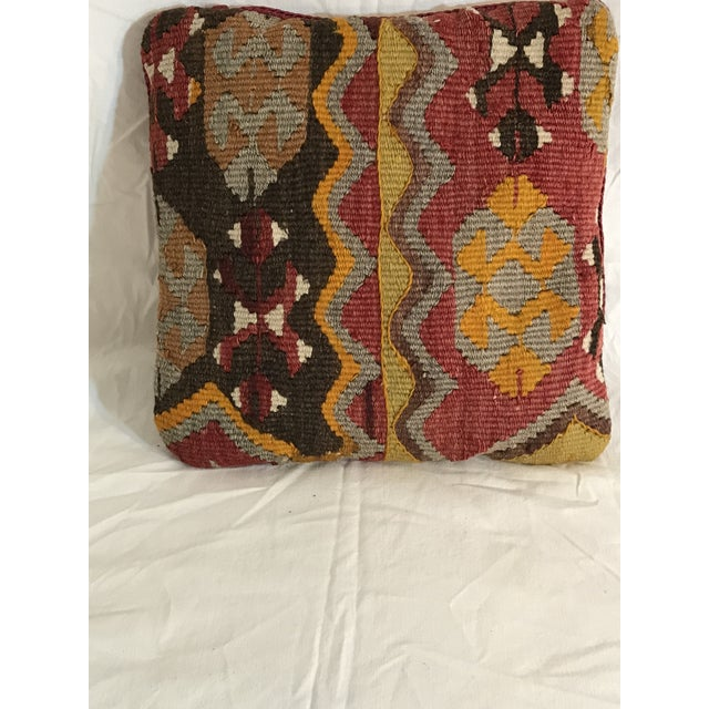 Antique Kirman Rug Fragment Pillow - Image 3 of 10