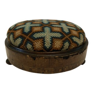 Late 19th Century Antique Needlepoint Footstool For Sale