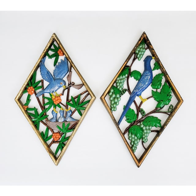 1960s Mid Century Carved Bird Wall Hangings - a Pair For Sale - Image 5 of 5