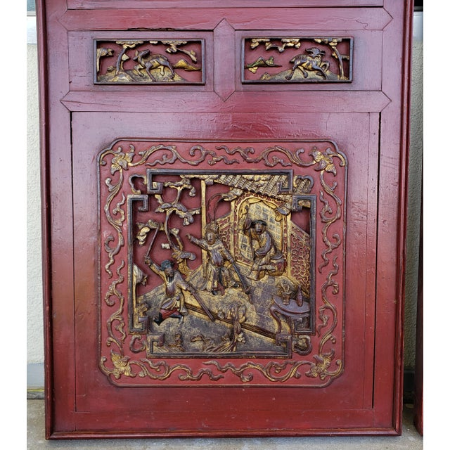 Late 19th Century Chinese Carved Gilded Lacquered Wood Imperial Court Motif Panels - a Pair For Sale - Image 4 of 9