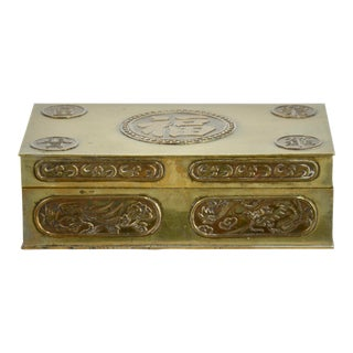 Dragon & Phoenix Chinese Brass Box For Sale
