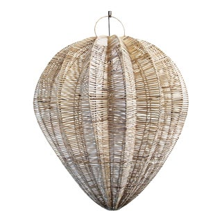 Raw Rattan Starfruit Lantern Large For Sale