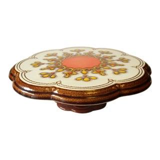 Vintage 1970s German Ceramic Footed Cake Plate For Sale