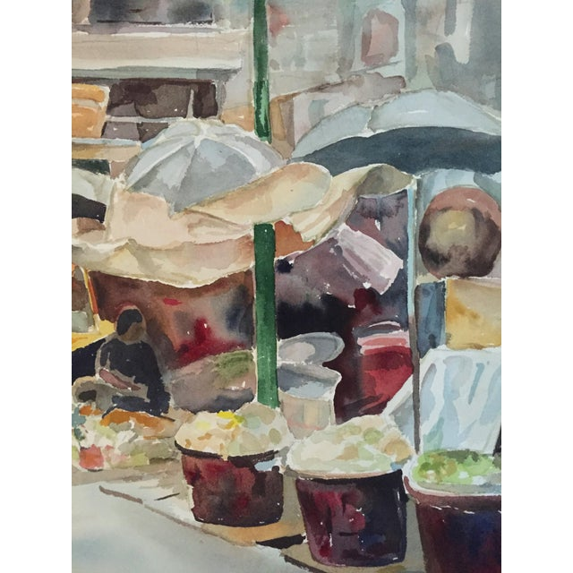 Mid-Century Modern Thelma Moody Gouache Farmer's Market Painting For Sale - Image 3 of 7