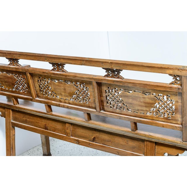 Asian Chinese Elm Wood Bench For Sale - Image 3 of 9