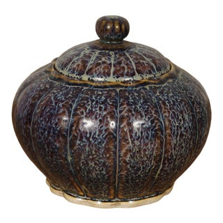 Vintage Chinese Jun Ware Fambe Glaze Porcelain Jar With Lid For Sale